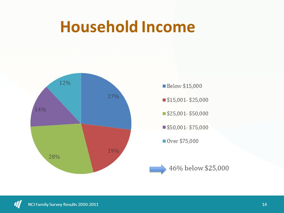 14 NCI Family Survey Results 2010-2011 Household Income 46% below $25,000