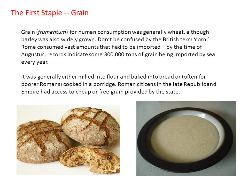 The First Staple -- Grain Grain (frumentum) for human consumption was generally wheat, although barley was also widely grown.
