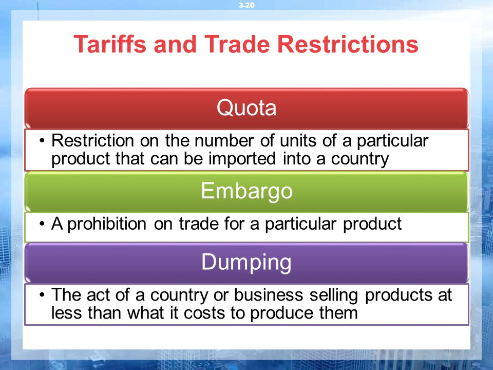 Tariffs and Trade Restrictions 3-20 Quota Restriction on the number of units of a particular product that can be imported into a country Embargo A pro
