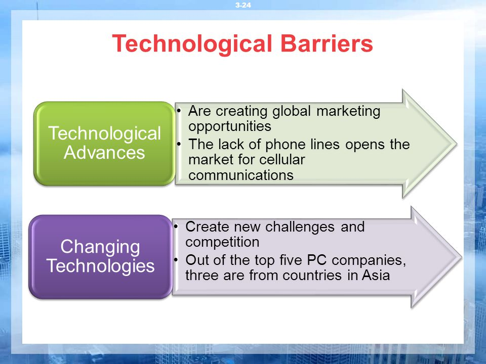 Technological Barriers 3-24 Are creating global marketing opportunities The lack of phone lines opens the market for cellular communications Technolog