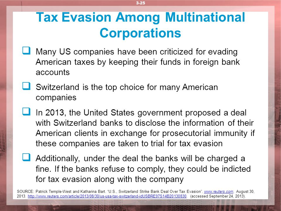 Tax Evasion Among Multinational Corporations 3-25  Many US companies have been criticized for evading American taxes by keeping their funds in foreig