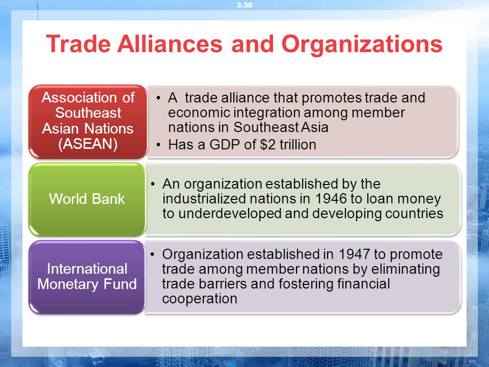 Trade Alliances and Organizations 3-30 A trade alliance that promotes trade and economic integration among member nations in Southeast Asia Has a GDP