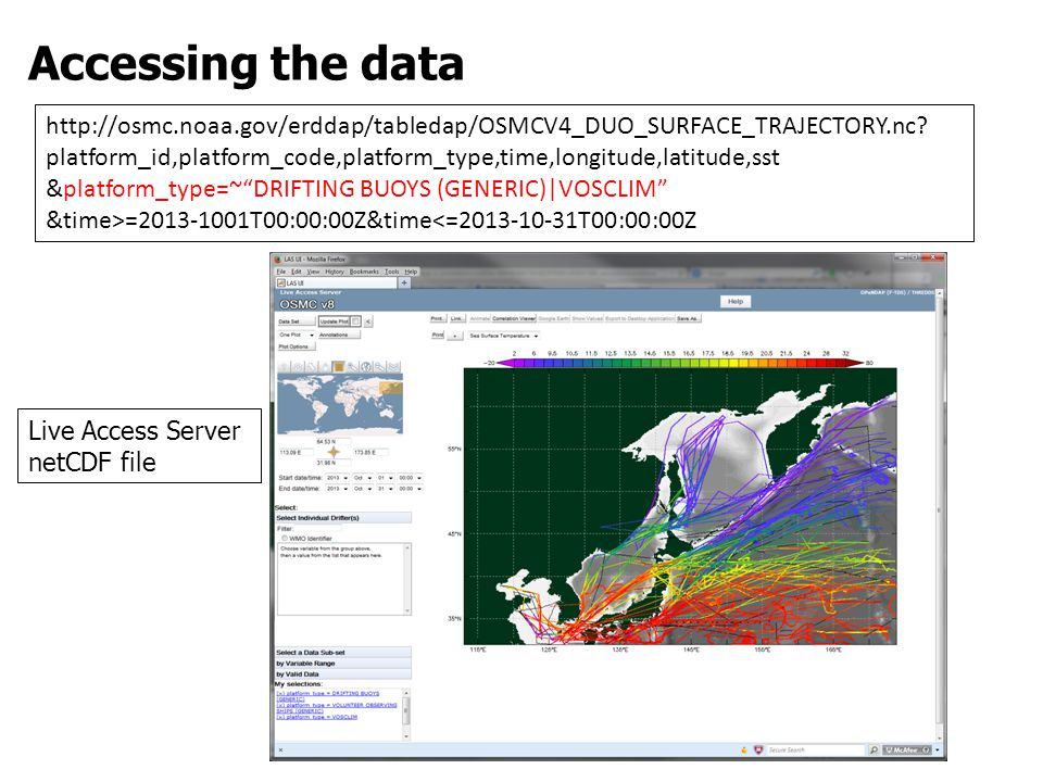 Accessing the data http://osmc.noaa.gov/erddap/tabledap/OSMCV4_DUO_SURFACE_TRAJECTORY.nc.