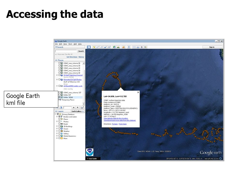 Accessing the data Google Earth kml file