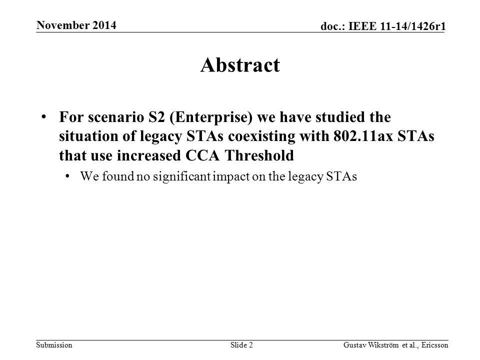 Submission doc.: IEEE 11-14/1426r1 November 2014 Gustav Wikström et al., EricssonSlide 2 Abstract For scenario S2 (Enterprise) we have studied the sit