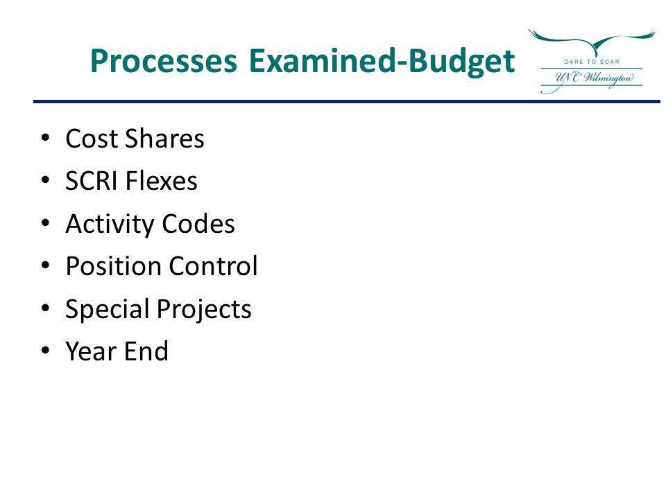 Processes Examined-Budget Cost Shares SCRI Flexes Activity Codes Position Control Special Projects Year End