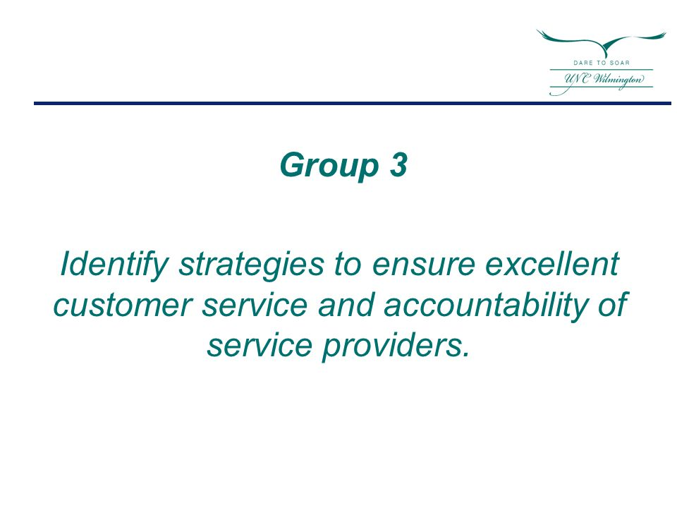 Group 3 Identify strategies to ensure excellent customer service and accountability of service providers.