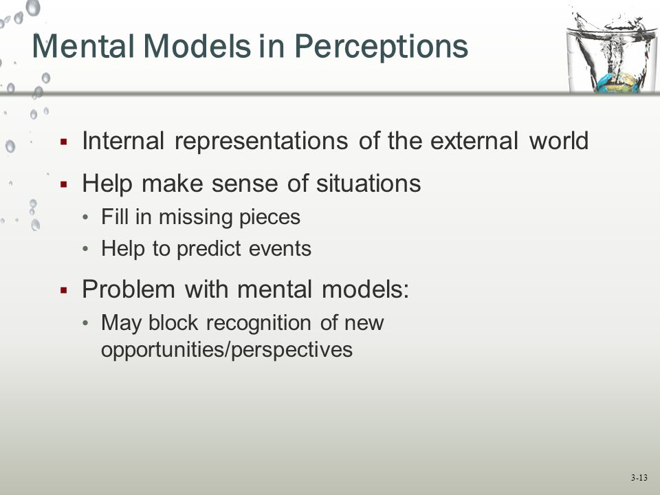 3-13  Internal representations of the external world  Help make sense of situations Fill in missing pieces Help to predict events  Problem with mental models: May block recognition of new opportunities/perspectives Mental Models in Perceptions