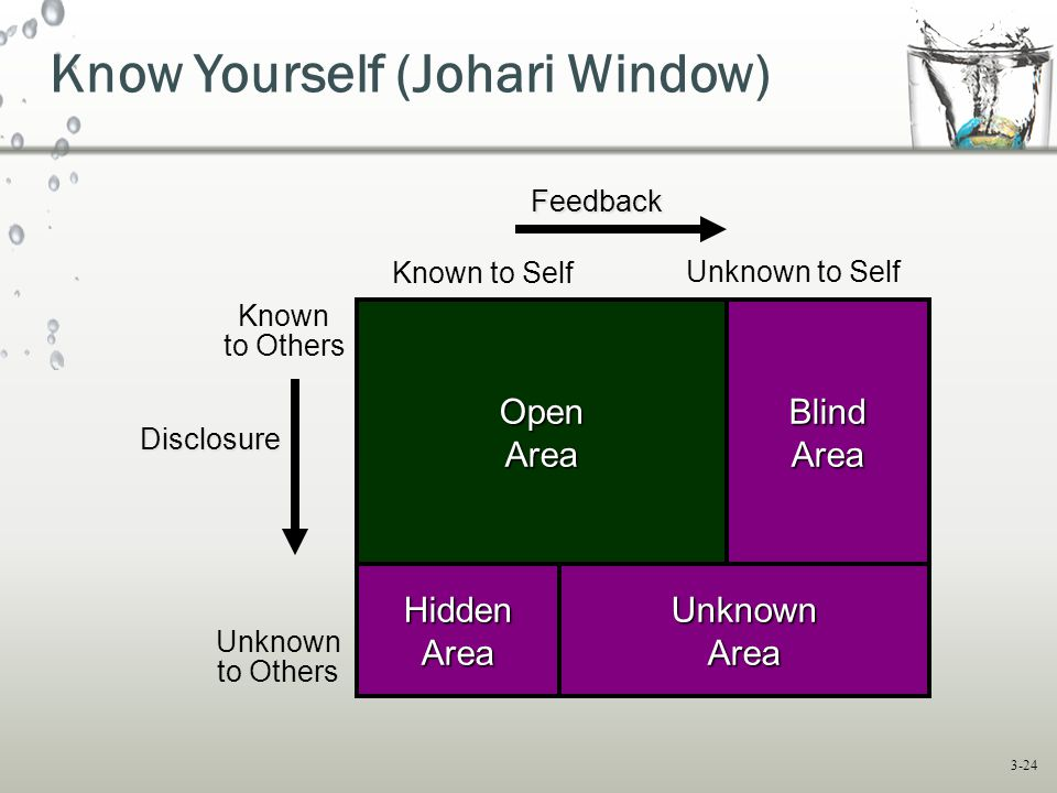 3-24 Known to Self Unknown to Self Known to Others Unknown to Others OpenAreaBlindArea UnknownArea HiddenArea Know Yourself (Johari Window) OpenAreaBlindArea HiddenAreaUnknownArea Disclosure Feedback