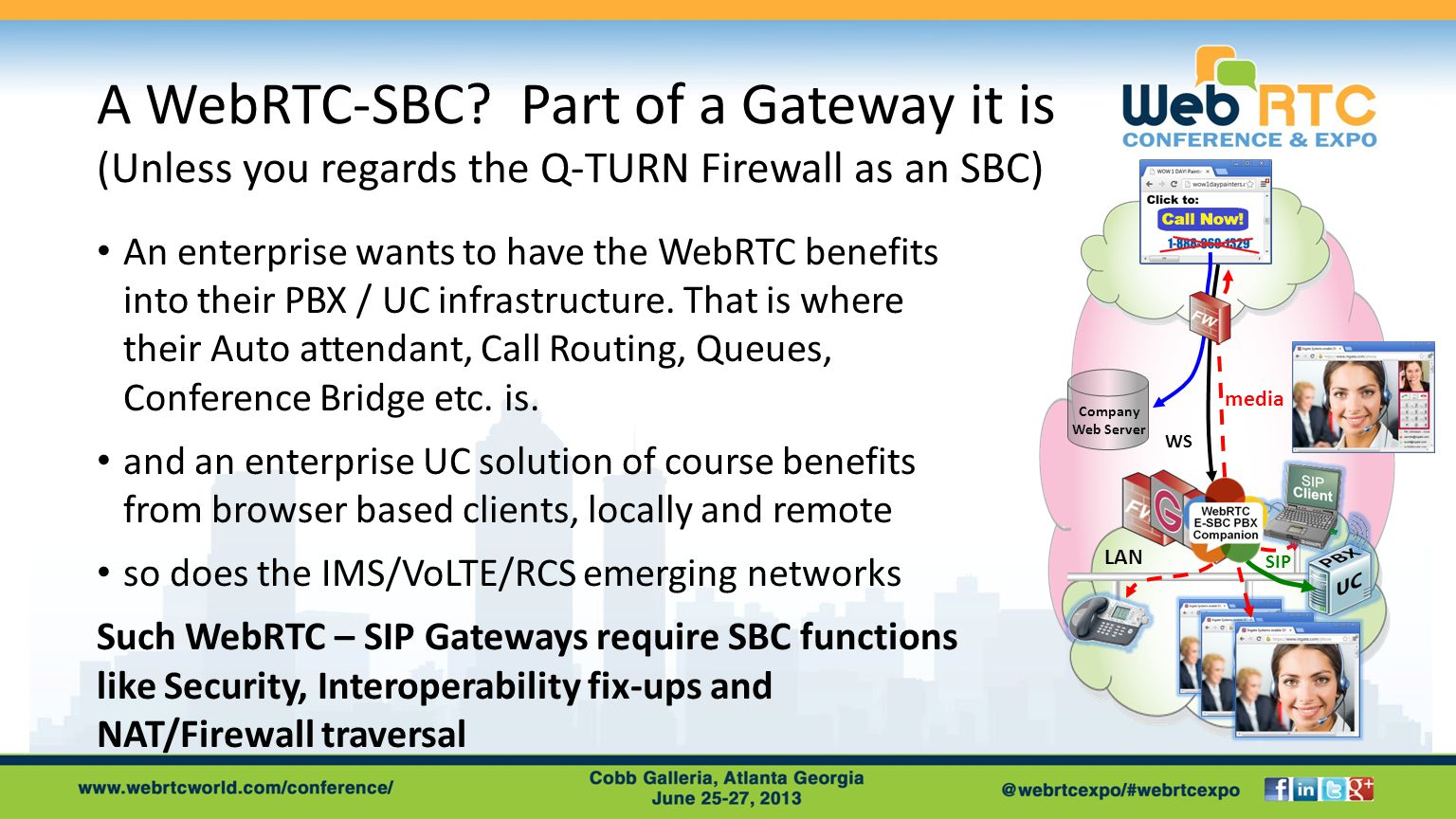 A WebRTC-SBC? Part of a Gateway it is (Unless you regards the Q-TURN Firewall as an SBC) An enterprise wants to have the WebRTC benefits into their PB