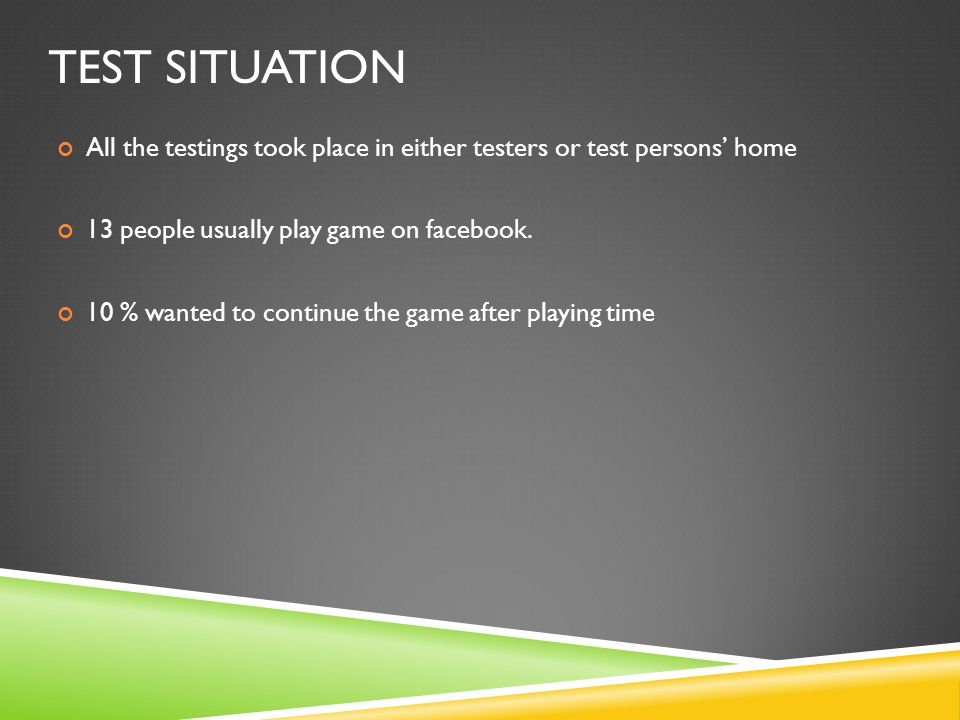 TEST SITUATION All the testings took place in either testers or test persons' home 13 people usually play game on facebook.