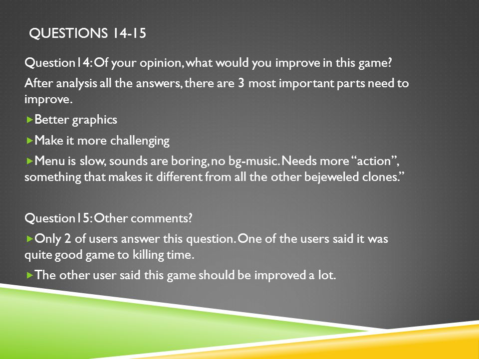 QUESTIONS 14-15 Question14: Of your opinion, what would you improve in this game.
