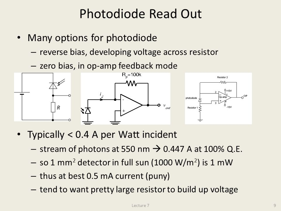 Photodiode Read Out Many options for photodiode – reverse bias, developing voltage across resistor – zero bias, in op-amp feedback mode Typically < 0.