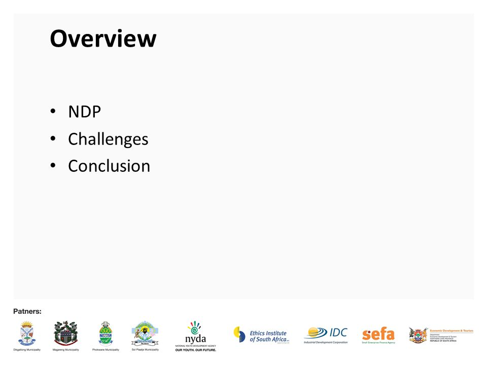 Overview NDP Challenges Conclusion