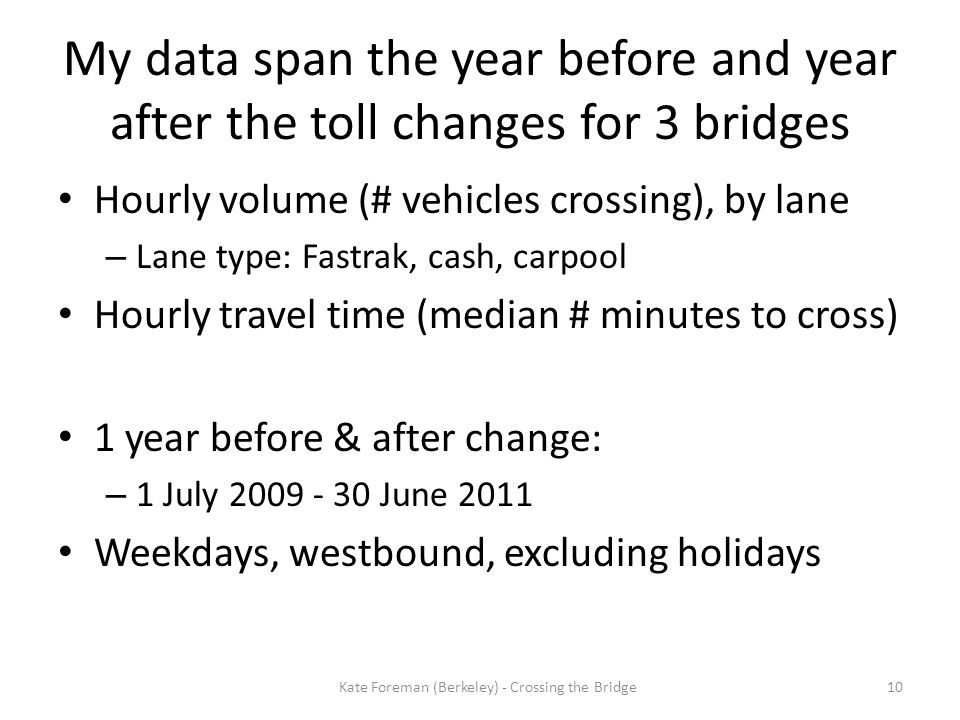 My data span the year before and year after the toll changes for 3 bridges Hourly volume (# vehicles crossing), by lane – Lane type: Fastrak, cash, ca
