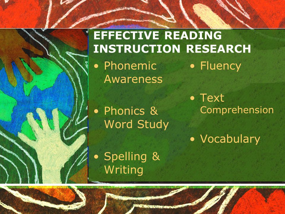 EFFECTIVE READING INSTRUCTION RESEARCH Phonemic Awareness Phonics & Word Study Spelling & Writing Fluency Text Comprehension Vocabulary