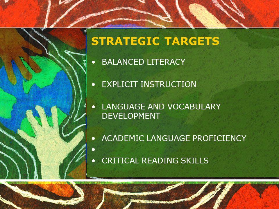 STRATEGIC TARGETS BALANCED LITERACY EXPLICIT INSTRUCTION LANGUAGE AND VOCABULARY DEVELOPMENT ACADEMIC LANGUAGE PROFICIENCY CRITICAL READING SKILLS