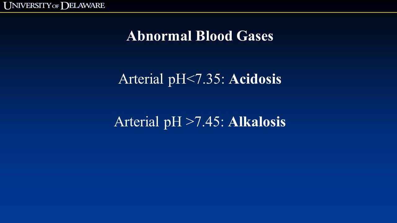 Abnormal Blood Gases Arterial pH<7.35: Acidosis Arterial pH >7.45: Alkalosis