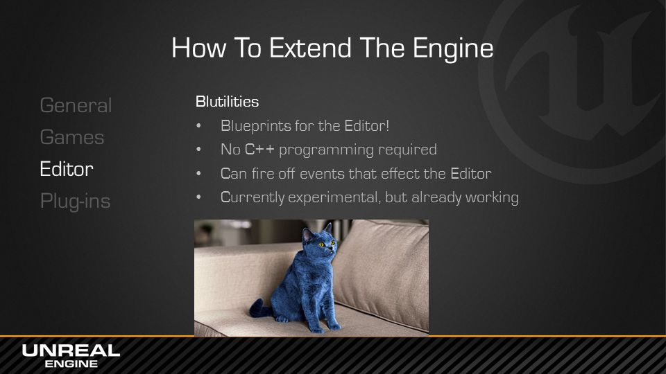 How To Extend The Engine General Games Editor Plug-ins Blutilities Blueprints for the Editor.