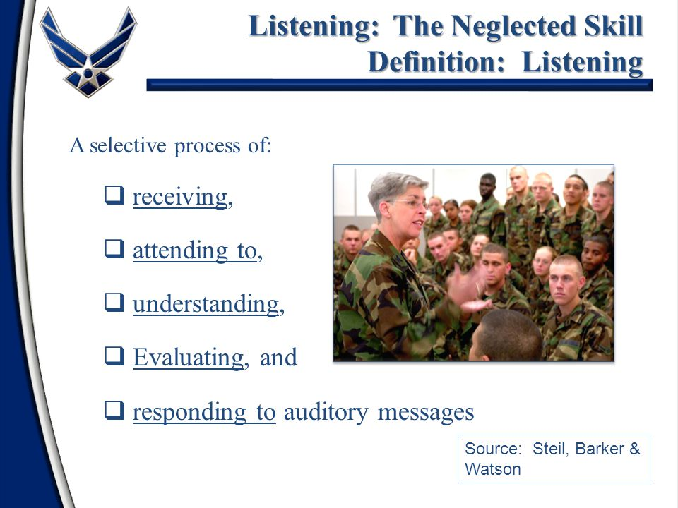 A selective process of:  receiving,  attending to,  understanding,  Evaluating, and  responding to auditory messages Listening: The Neglected Ski