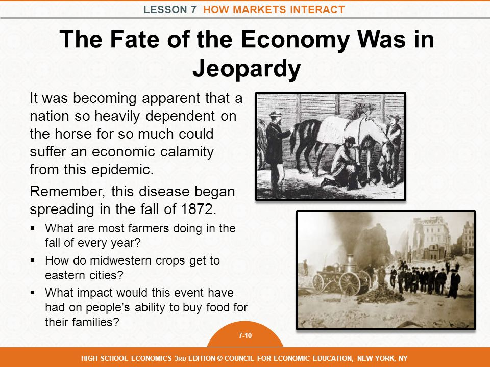 LESSON 7 HOW MARKETS INTERACT 7-10 HIGH SCHOOL ECONOMICS 3 RD EDITION © COUNCIL FOR ECONOMIC EDUCATION, NEW YORK, NY The Fate of the Economy Was in Je