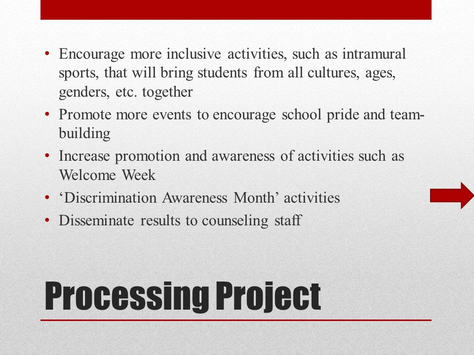 Processing Project Encourage more inclusive activities, such as intramural sports, that will bring students from all cultures, ages, genders, etc.
