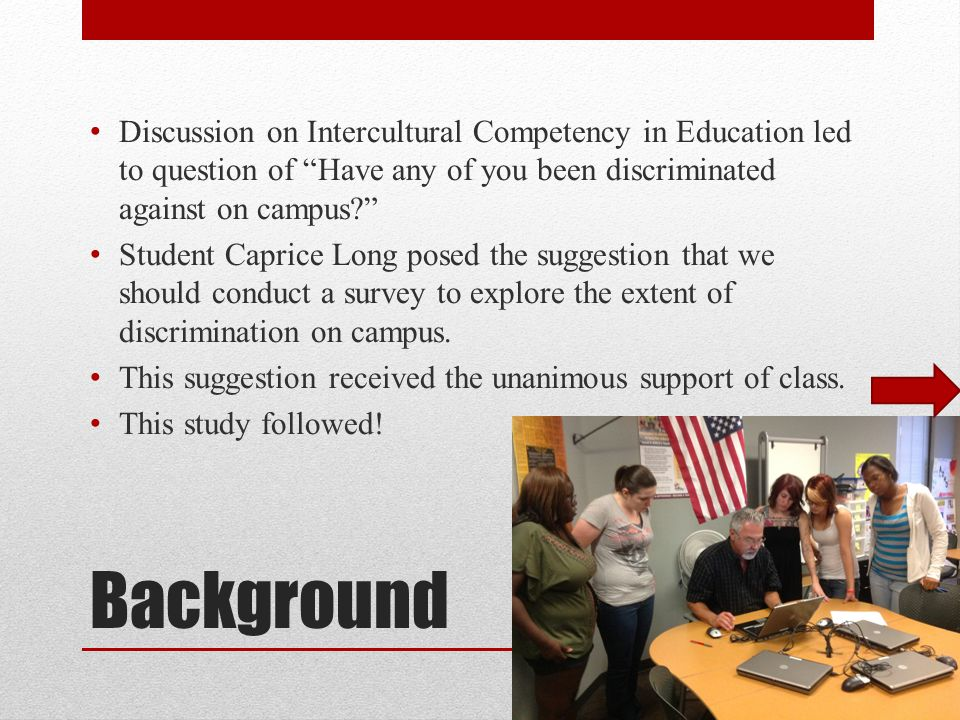 Background Discussion on Intercultural Competency in Education led to question of Have any of you been discriminated against on campus Student Caprice Long posed the suggestion that we should conduct a survey to explore the extent of discrimination on campus.