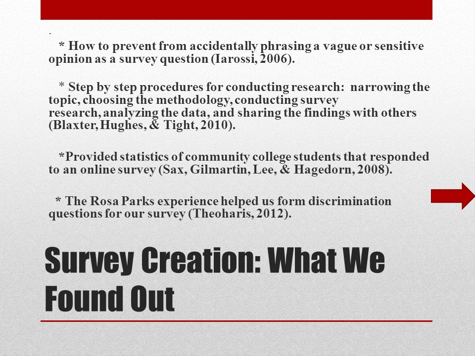 Survey Creation: What We Found Out.