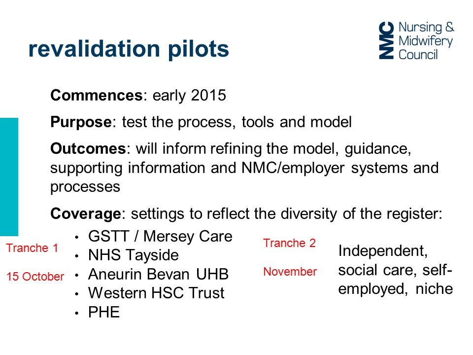 Commences: early 2015 Purpose: test the process, tools and model Outcomes: will inform refining the model, guidance, supporting information and NMC/employer systems and processes Coverage: settings to reflect the diversity of the register: GSTT / Mersey Care NHS Tayside Aneurin Bevan UHB Western HSC Trust PHE revalidation pilots Tranche 1 15 October Tranche 2 November Independent, social care, self- employed, niche