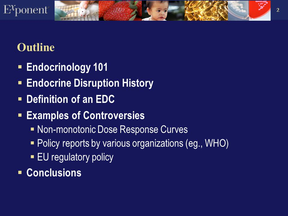 2 Outline  Endocrinology 101  Endocrine Disruption History  Definition of an EDC  Examples of Controversies  Non-monotonic Dose Response Curves  Policy reports by various organizations (eg., WHO)  EU regulatory policy  Conclusions