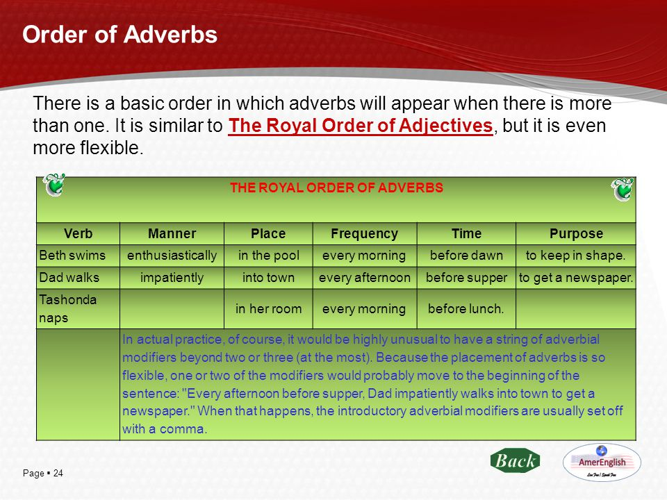 Page  24 Order of Adverbs There is a basic order in which adverbs will appear when there is more than one. It is similar to The Royal Order of Adject
