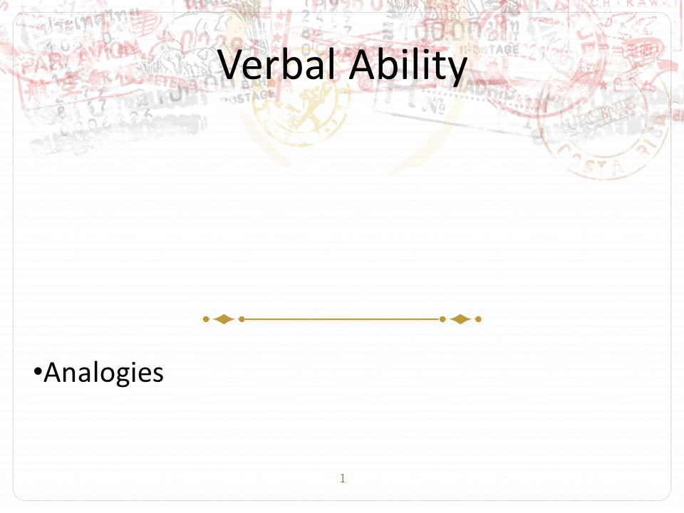 1 Verbal Ability Analogies