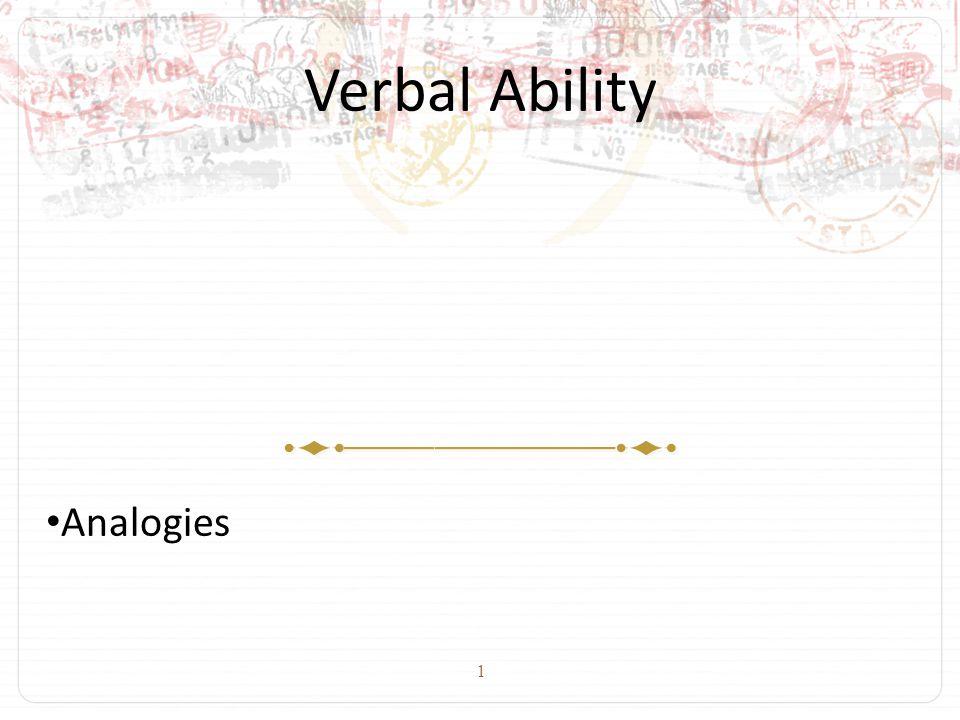 1 Verbal Ability Analogies