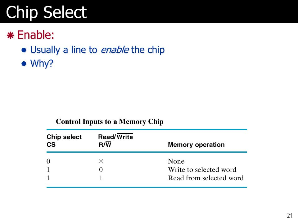 Chip Select  Enable: Usually a line to enable the chip Usually a line to enable the chip Why? Why? 21