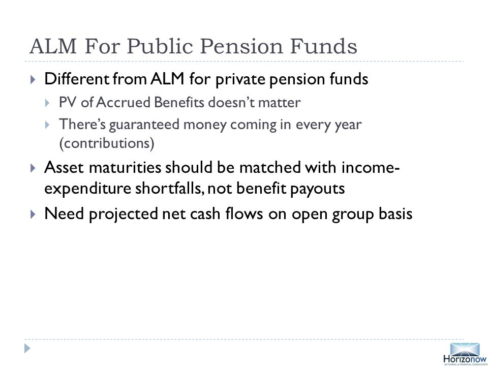ALM For Public Pension Funds  Different from ALM for private pension funds  PV of Accrued Benefits doesn't matter  There's guaranteed money coming in every year (contributions)  Asset maturities should be matched with income- expenditure shortfalls, not benefit payouts  Need projected net cash flows on open group basis