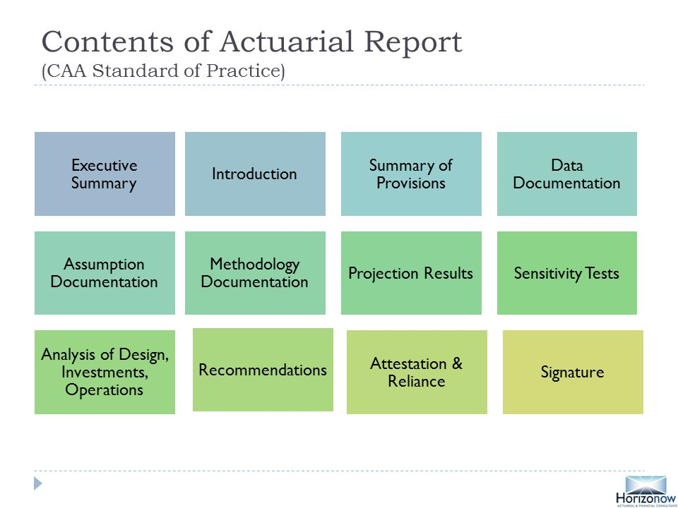 Contents of Actuarial Report (CAA Standard of Practice) Executive Summary Introduction Summary of Provisions Data Documentation Assumption Documentation Methodology Documentation Projection ResultsSensitivity Tests Analysis of Design, Investments, Operations Recommendations Attestation & Reliance Signature