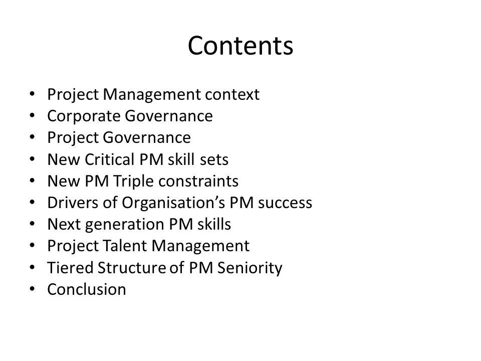 4.1 Change in Triple Constraints Original Triple ConstraintTalent Triangle – Next Generation Skills TimeTechnical CostLeadership ScopeStrategic and Business Management