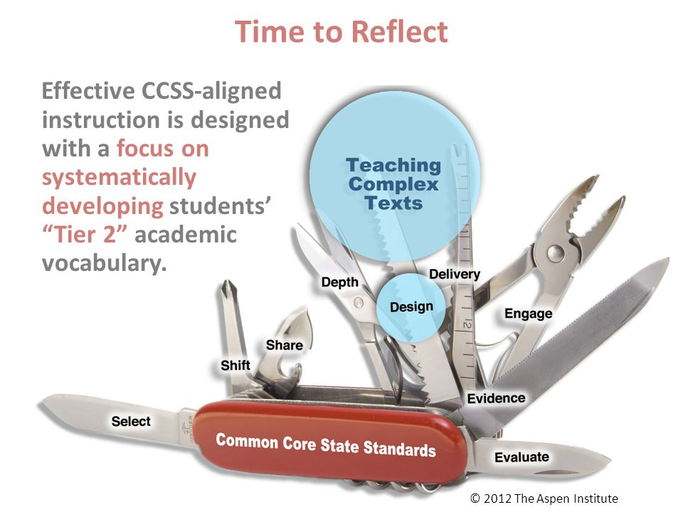 Time to Reflect Effective CCSS-aligned instruction is designed with a focus on systematically developing students' Tier 2 academic vocabulary.