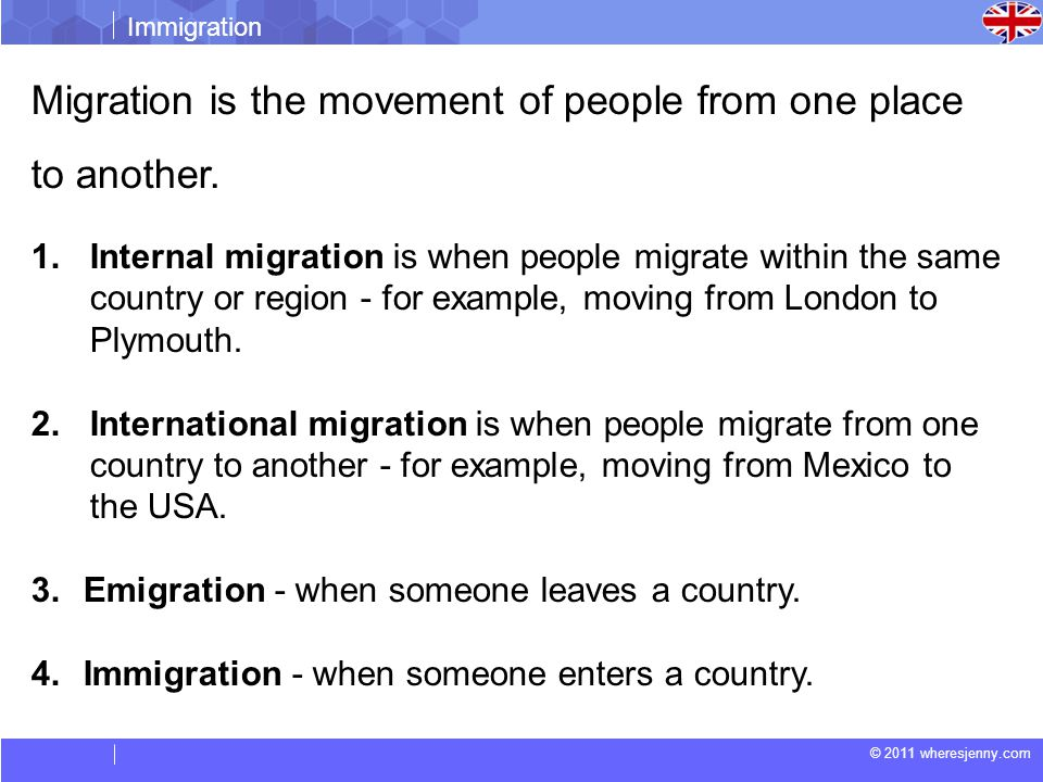 © 2011 wheresjenny.com Immigration Migration is the movement of people from one place to another.