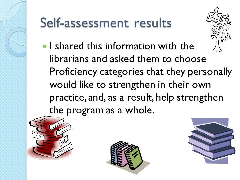 Self-assessment results I shared this information with the librarians and asked them to choose Proficiency categories that they personally would like