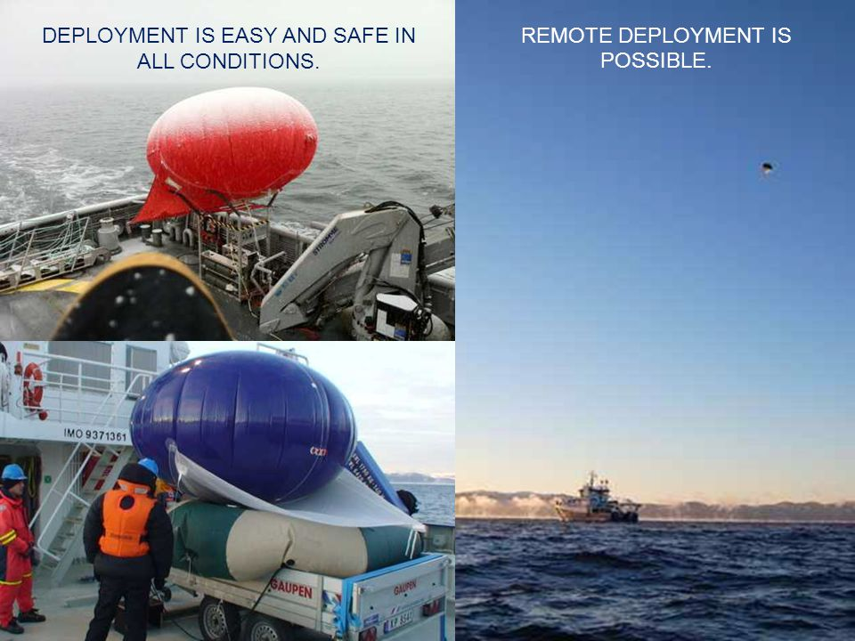 DEPLOYMENT IS EASY AND SAFE IN ALL CONDITIONS. REMOTE DEPLOYMENT IS POSSIBLE.