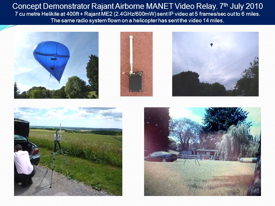 Concept Demonstrator Rajant Airborne MANET Video Relay. 7 th July 2010 7 cu metre Helikite at 400ft + Rajant ME2 (2.4GHz/600mW) sent IP video at 5 fra