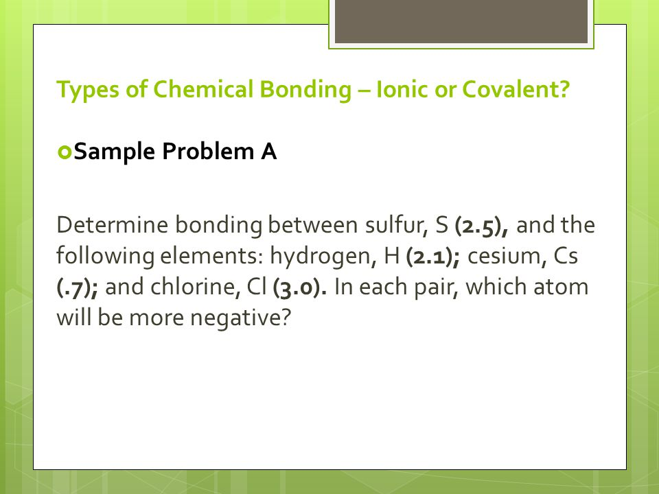 Types of Chemical Bonding – Ionic or Covalent.