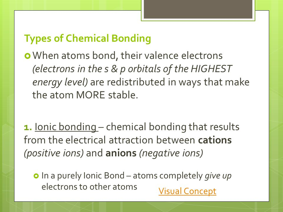 Types of Chemical Bonding  When atoms bond, their valence electrons (electrons in the s & p orbitals of the HIGHEST energy level) are redistributed in ways that make the atom MORE stable.