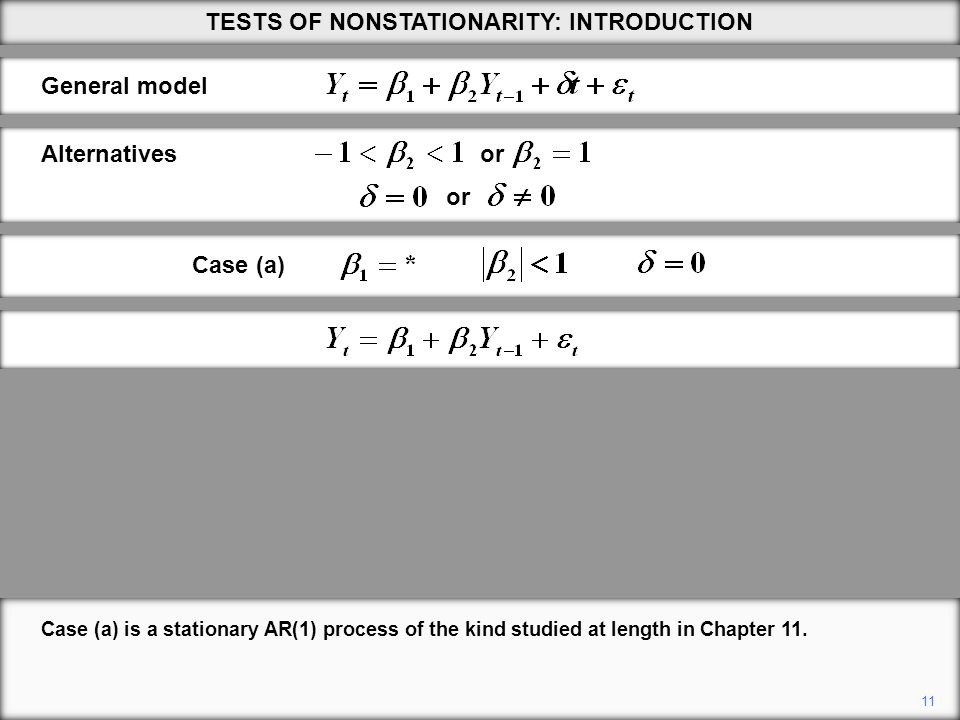 11 Case (a) is a stationary AR(1) process of the kind studied at length in Chapter 11.