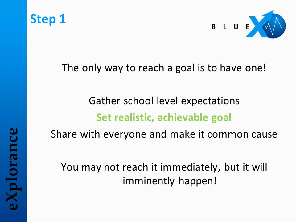 eXplorance Step 1 The only way to reach a goal is to have one! Gather school level expectations Set realistic, achievable goal Share with everyone and