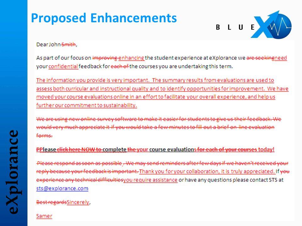 eXplorance Proposed Enhancements