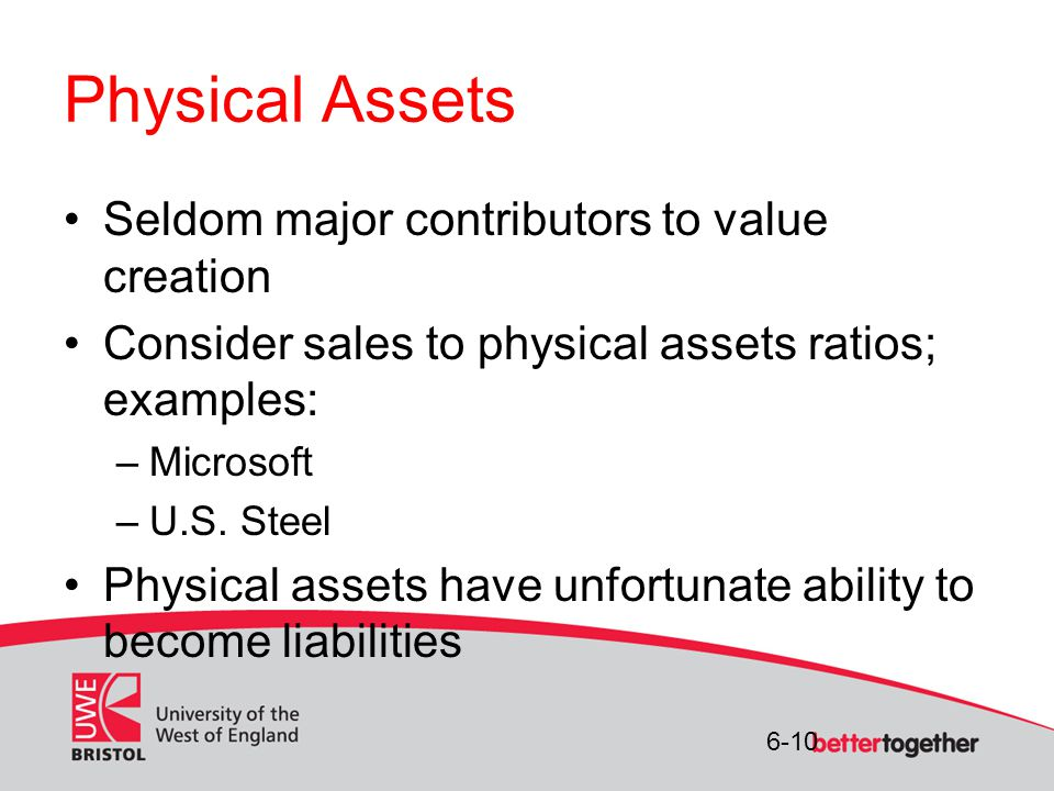 6-10 Physical Assets Seldom major contributors to value creation Consider sales to physical assets ratios; examples: –Microsoft –U.S.