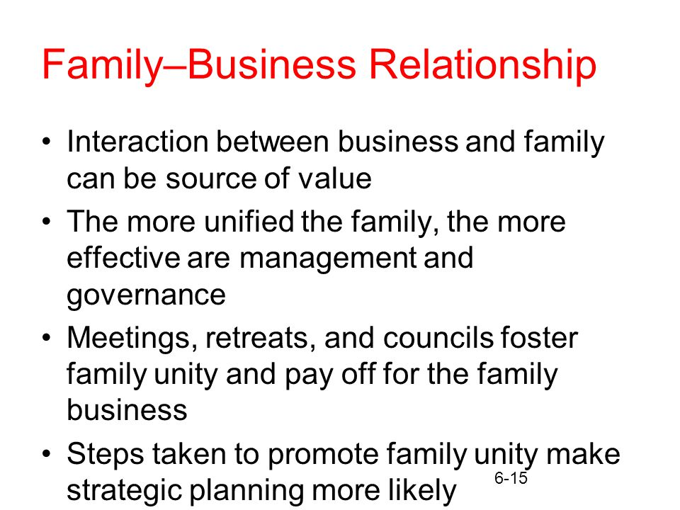 6-15 Family–Business Relationship Interaction between business and family can be source of value The more unified the family, the more effective are management and governance Meetings, retreats, and councils foster family unity and pay off for the family business Steps taken to promote family unity make strategic planning more likely