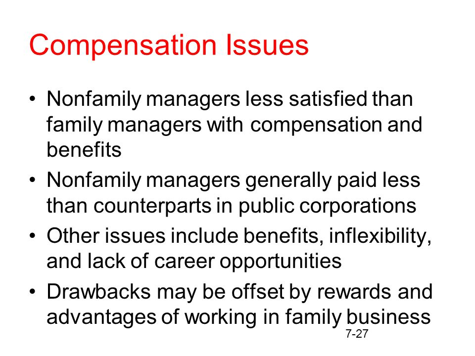 7-27 Compensation Issues Nonfamily managers less satisfied than family managers with compensation and benefits Nonfamily managers generally paid less than counterparts in public corporations Other issues include benefits, inflexibility, and lack of career opportunities Drawbacks may be offset by rewards and advantages of working in family business